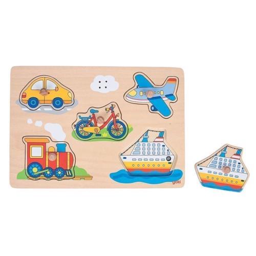 Image of   Knoppuslespil med køretøjer, 5 brikker