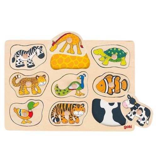 Image of   Knoppuslespil med dyr, 9 dele
