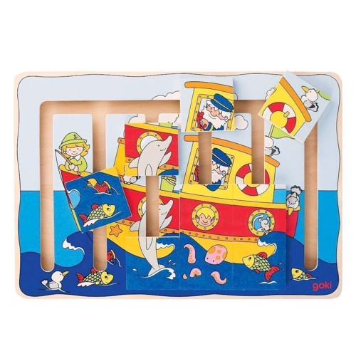 Image of Wooden sliding puzzle boat, 9dlg. (4013594575973)