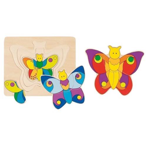 Image of   3 lags puslespil med sommerfugl