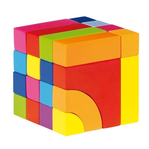 Image of   Wooden block-and jigsaw puzzle-Color