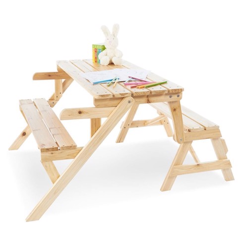 Image of   Pinolino Kindertafel- and Wooden Garden bench, 2in1