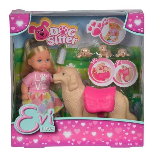 Image of   Evi dukke med hund og hvalp