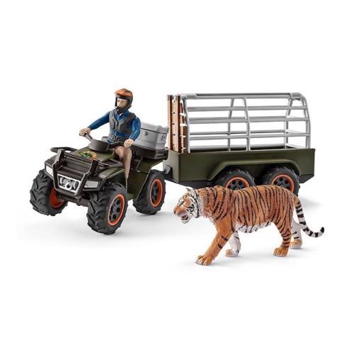 Image of Schleich Mand på atv med trailer og tiger (4055744013980)
