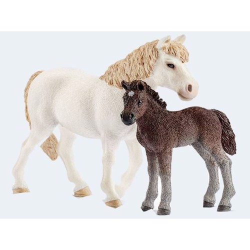 Image of   Schleich Pony hoppe med føl