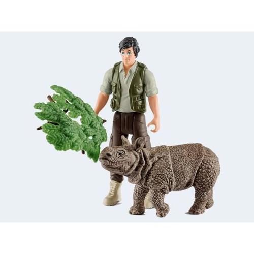 Image of   Schleich Ranger med næsehorn, starsæt