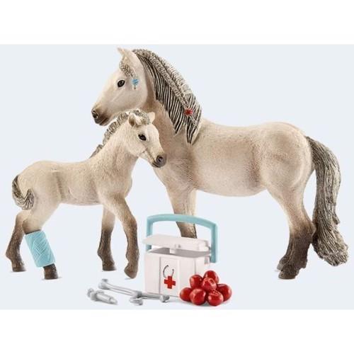 Image of   Schleich, Islænder hestepleje, med heste og tilbehør