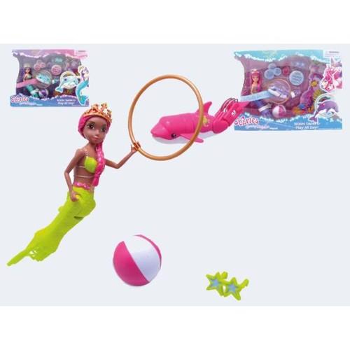 Image of   Lil Fishy Nixies, havfrue med delfin. Ass. modeller, pris pr. stk