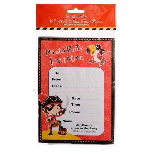 Image of   Pirat fest invitationer 10 stk