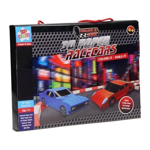 Image of   3D racerbiler, fold selv med klistermærker