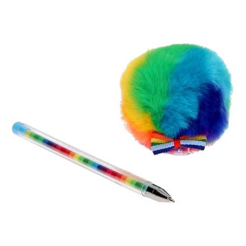 Image of Regnbue kuglepen med pelskugle