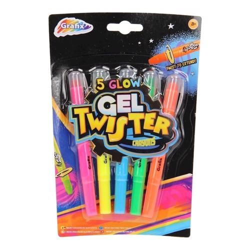 Image of   Glødende Gel Twister farver, 5 stk