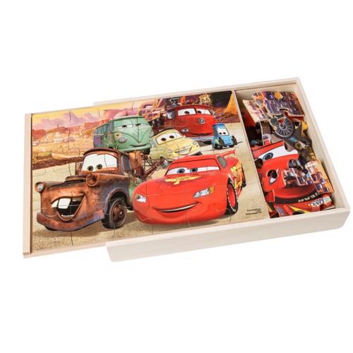 Image of   Puslespil i træ med Cars 3, 3x24st.