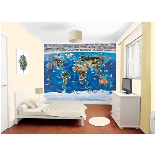 Image of   Walltastic Wallpaper World Map Poster wallsticker