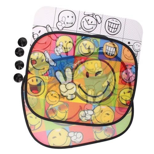 Image of   Solskygge til bil, Farv din egne, 2 stk - Smiley
