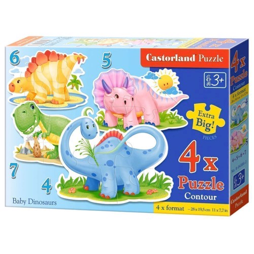 Image of   Puzzle Baby Dino's, 4in1