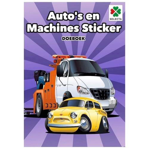 Image of   Selecta, klistermærkebog med biler og maskiner