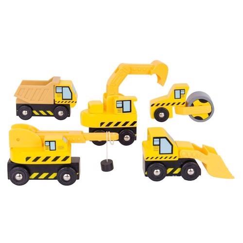 Image of   Byggeplads køretøjer i træ, 5 stk