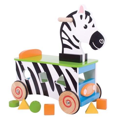 Image of   Træ gåbil, gåvogn, Zebra