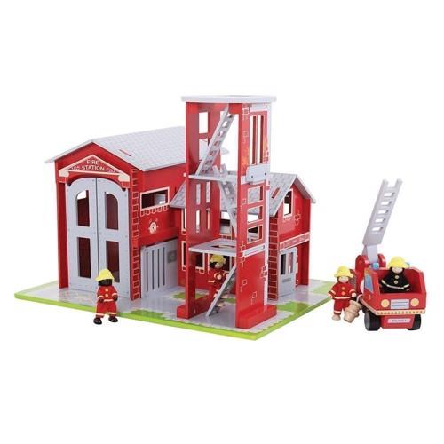 Image of   Træ legetøj, brandstation