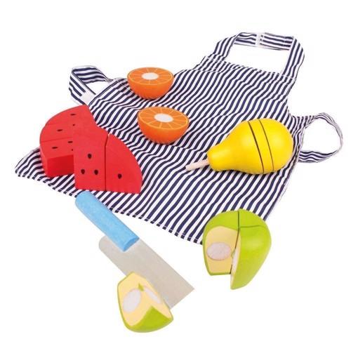 Image of   Træ legetøj, frugt med kniv og forklæde