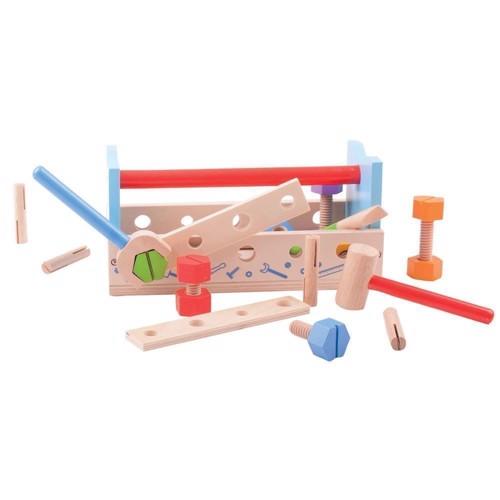 Image of   Træ legetøj, Værkstøjskasse med værktøj