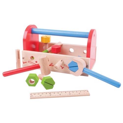 Image of   Træ legetøj, Værkstøjskasse med værkstøj