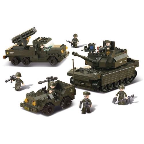 Image of Sluban Tank + Rocket Launcher + Jeep (6938242938581)