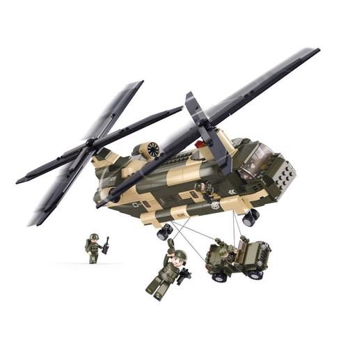 Image of Sluban Chinook millitær hellikopter, Sluban klodser (6938242952785)
