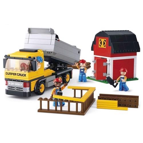 Image of Sluban lastbil med tippelad og tilbehør, Sluban klodser (6938242953126)