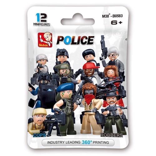 """Image of Sluban """" blindbag """" pakke figur politi og røver, Sluban klodser (6938242953539)"""