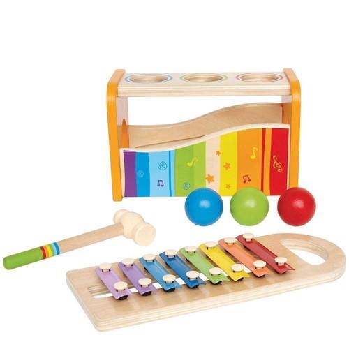 Image of   Hape E0305 2i1 Xylophone og hammerspil
