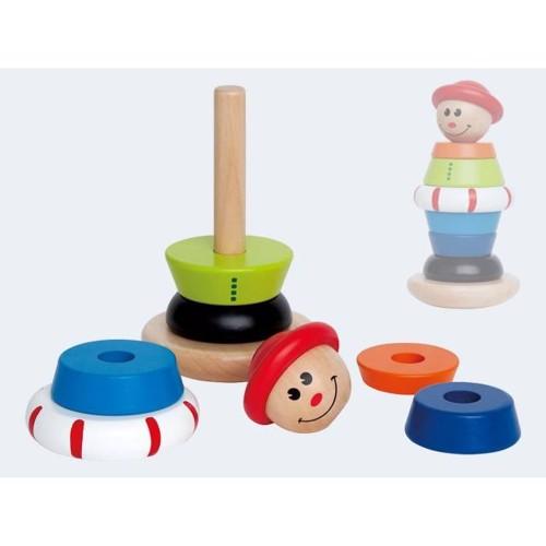 Image of   Hape E0401 stabel legetøj, klovnen Jack i træ
