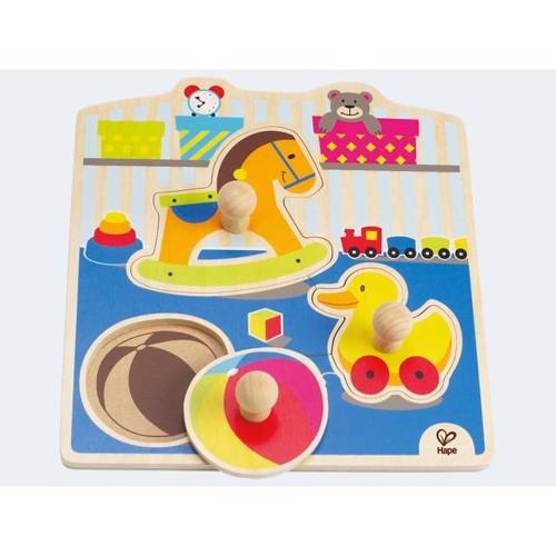 Image of   Hape E1301 puslespil i træ, med legetøj, 4 dele
