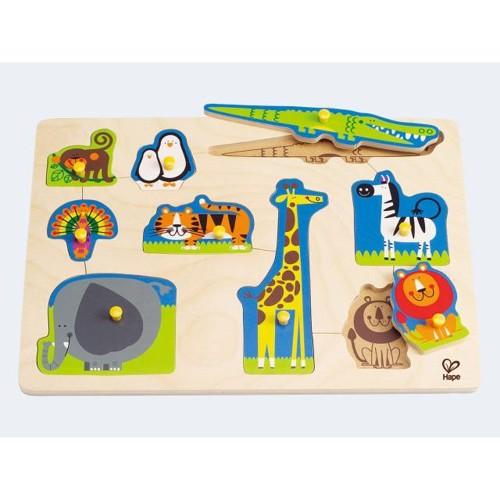 Image of   Hape E1403 træpuslespil med zoo dyr