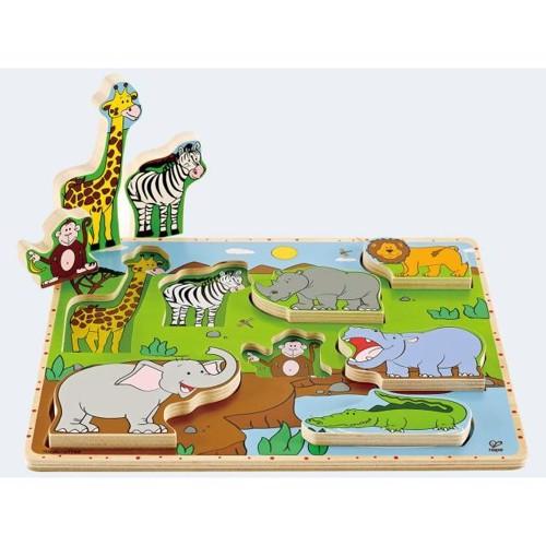 Image of   Hape E1451 træpuslespil med vilde dyr