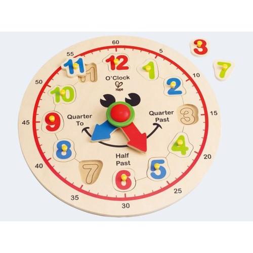 Image of   Hape E1600 lære Ur med løse tal i træ