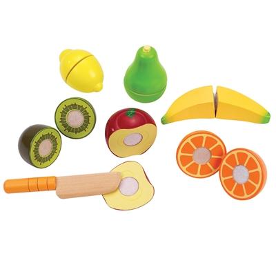 Image of   Hape E3117 legemad, 6 frugter og kniv i træ
