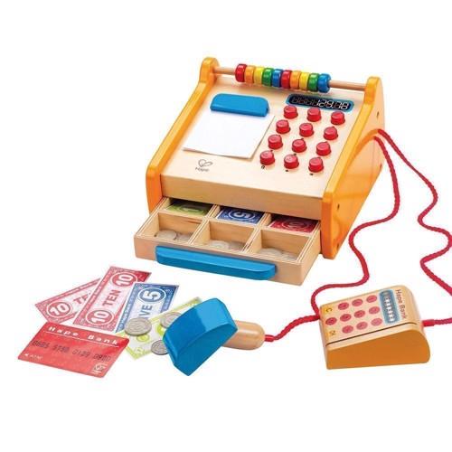 Hape E3121 legetøjs kasseapparat i træ, med tilbehør
