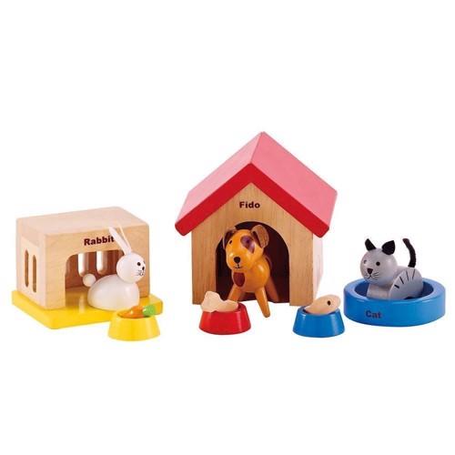 Image of   Hape dukkehus, dukke, husdyr