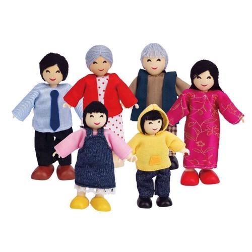 Image of   Hape dukkehus, dukker, Asiatisk familie