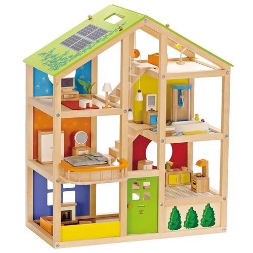 Image of   Hape E3401 dukkehus i træ med 6 værelser og møbler