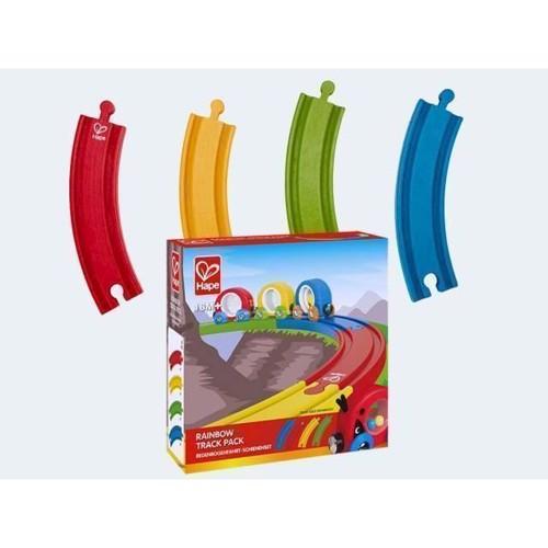 Image of Hape E3804 farvede togskinner til togbane i træ, 4 stk (6943478015050)