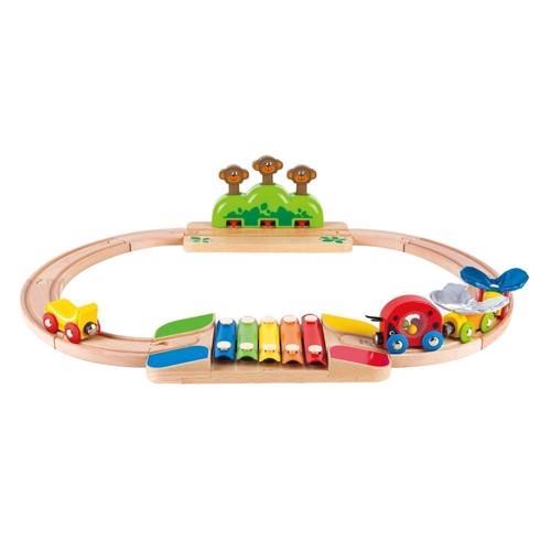 Image of   Hape E3814 togbane med abeskjul og xylofon 56cm, 17 dele