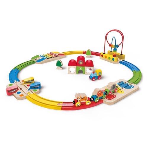 Image of   Hape E3816 aktivitet togbane sæt med 30 dele