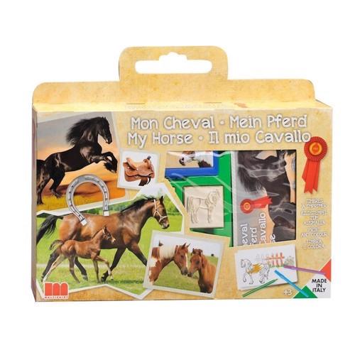 Image of   Stempelkasse med heste