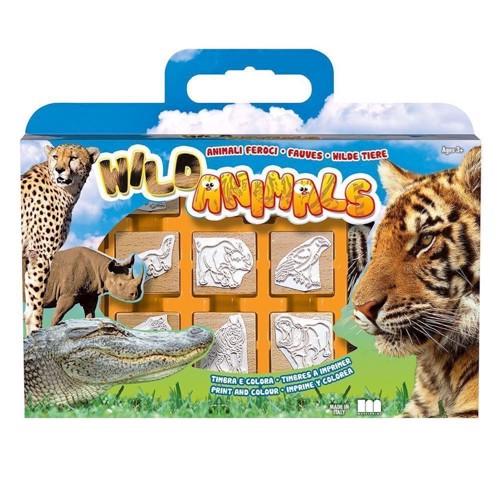 Image of   Stempelkasse med vilde dyr, 12 dele