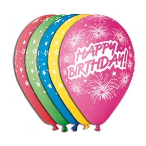 Fødselsdags balonner, Happy Birthday, 5 stk