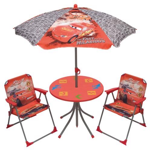 Image of   Cars havesæt med bord, parasol og stole