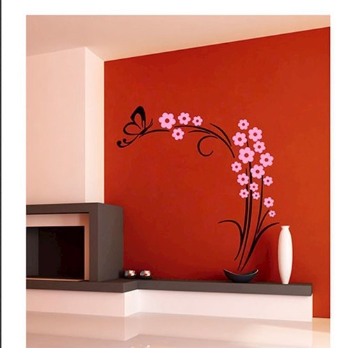 Image of   Wall sticker Butterfly plant Black/Pink